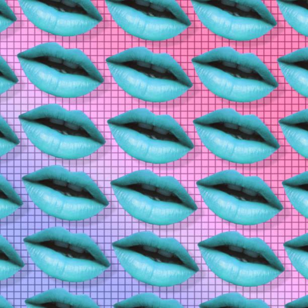 blue woman lips. stock photo
