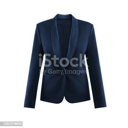 Blue women's insulated jacket in white background in invisible mannequin