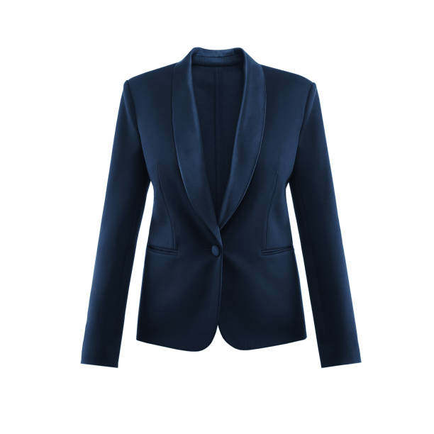 Blue women's insulated jacket in white background, invisible mannequin Blue women's insulated jacket in white background in invisible mannequin blazer jacket stock pictures, royalty-free photos & images