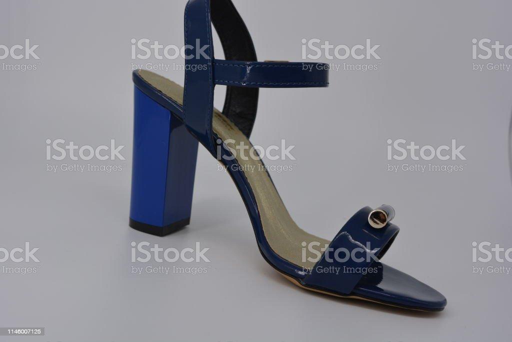 Azul Con Plantilla Sandalias Mujer Para Genuino De Charol NwPk0O8nX