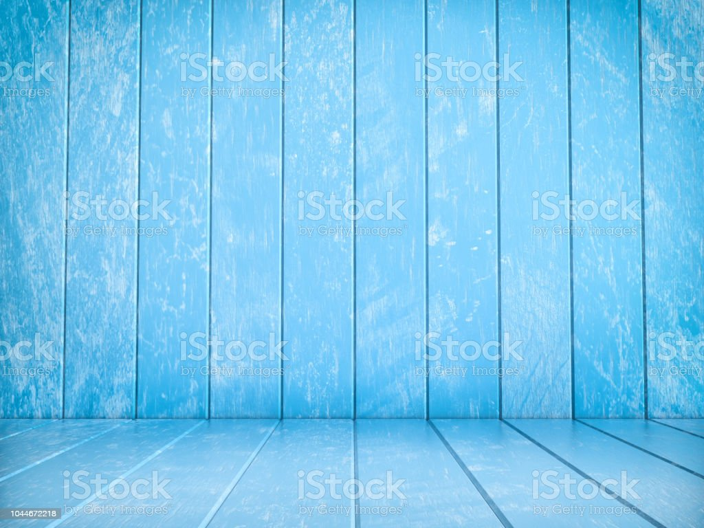 Blue wood flooring and wood wall stock photo