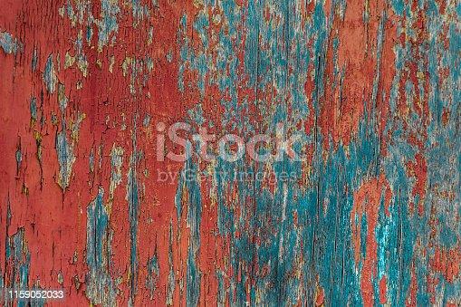 blue wood surface cracked red paint old board background grunge base design art