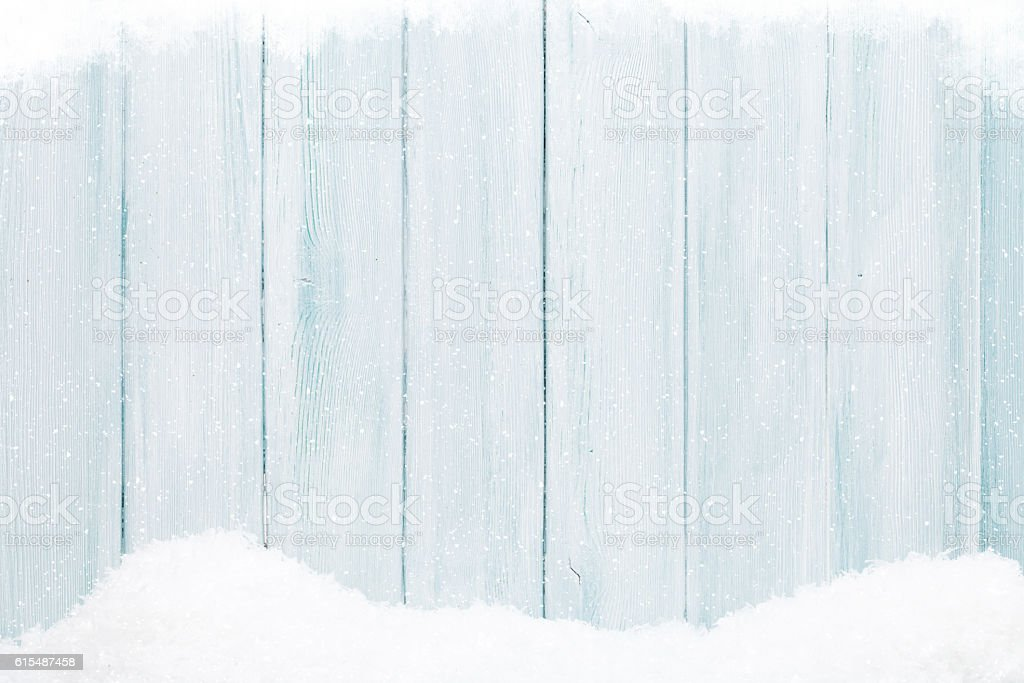 Blue wood texture with snow stock photo