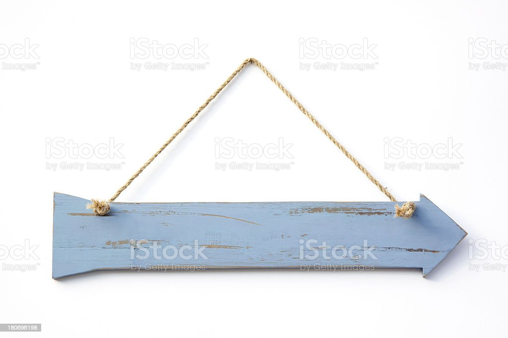 Blue Wooden Arrow royalty-free stock photo