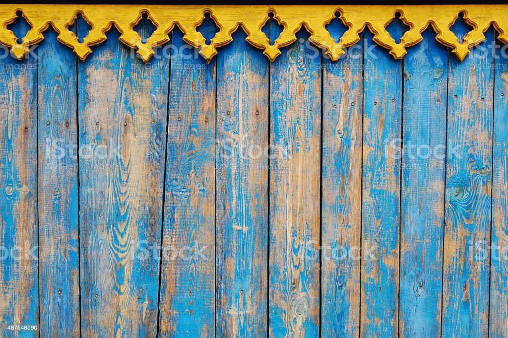 Blue wooden background stock photo
