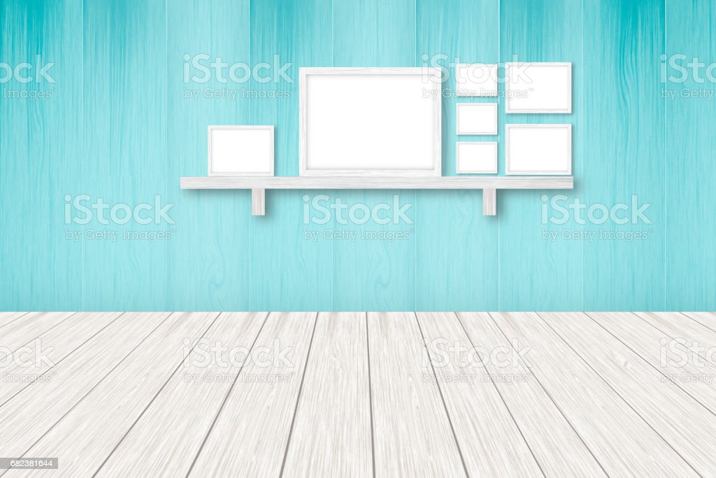 Blue wooden background with white frames, interior decoration,3D illustration royalty-free stock photo