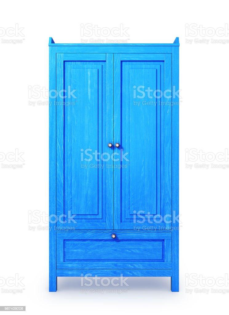 Holzgehäuse, blau isoliert auf weißem Hintergrund. 3D illustration – Foto