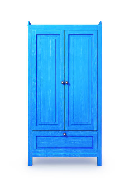 blue wooden cabinet, isolated on white background. 3d illustration stock photo