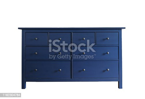 Blue dresser isolated on white background. Wooden furniture for home interior