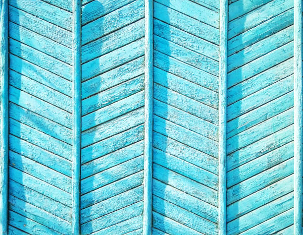 Blue wooden fence background stock photo