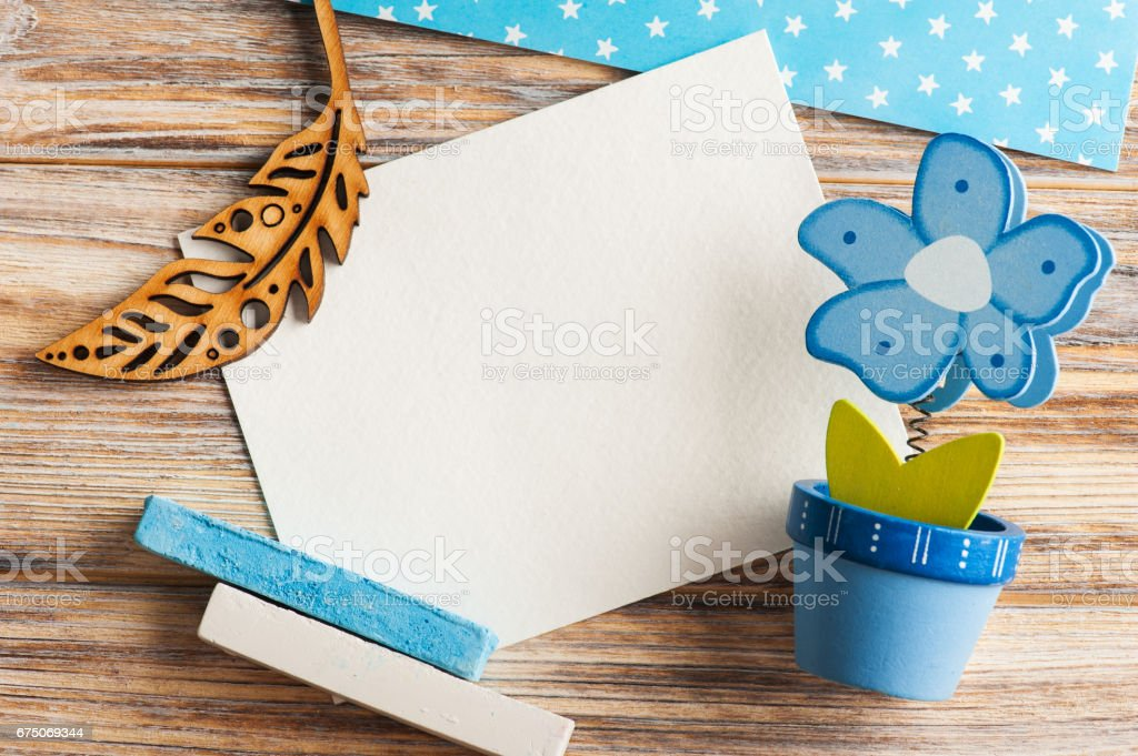 Blue wooden flower and drawing chalk stock photo