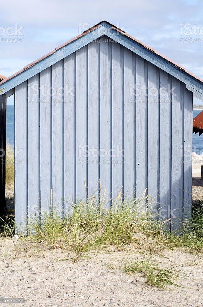 blue wooden hut of fisherman royalty-free stock photo