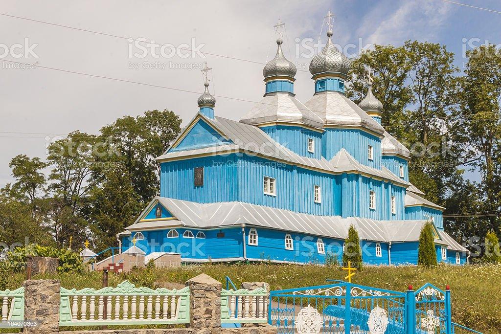 Blue wooden Orthodox church - Ukraine. royalty-free stock photo