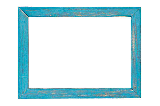 blue wooden photo frame on white background - charpente photos et images de collection