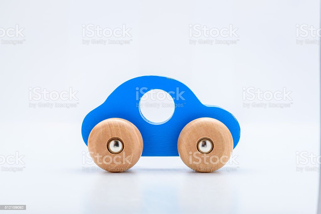 Blue Wooden Toy Car stock photo