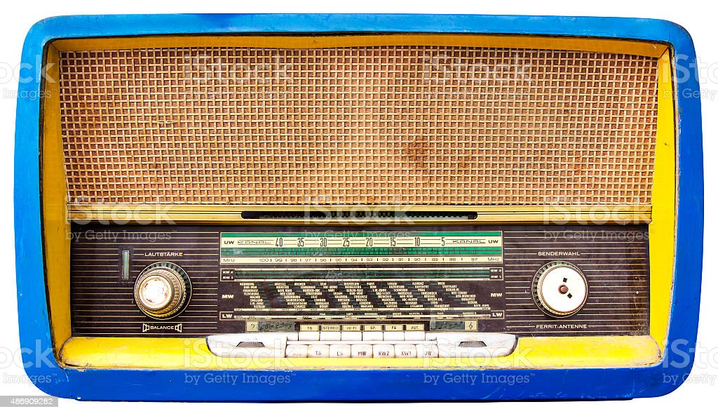 Blue Wooden Tuner Radio stock photo