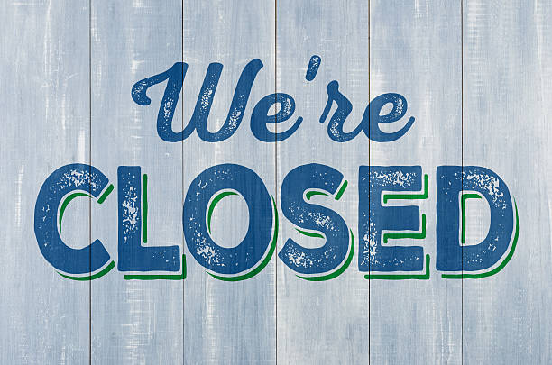 blue wooden wall with the inscription we are closed - closed stock photos and pictures