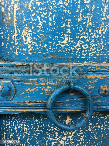 istock Blue wooden wardrobe cover detail 957852788