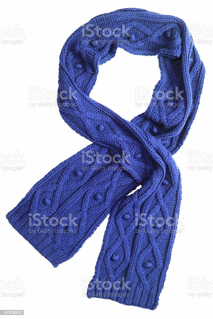 Blue wool scarf on a white background royalty-free stock photo