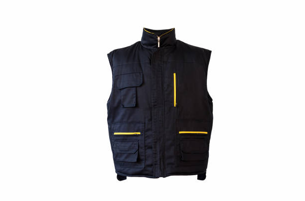 blue working winter vest. - jacket stock photos and pictures