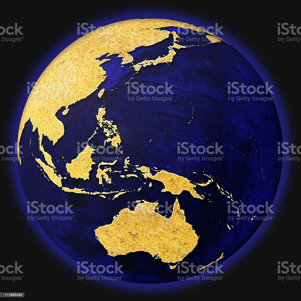 Blue world globe pacific ocean stock photo