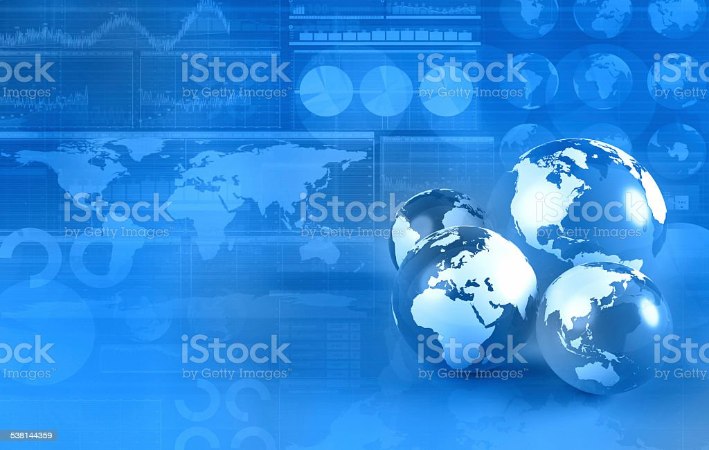 Blue world globes on financial business background stock photo