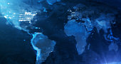 istock Blue World Map Background - Global Business, News And Media, Finance And Economy 1300113567