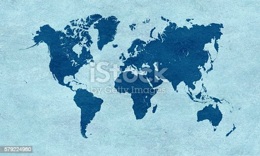 istock Blue world map on blue paper 579224980