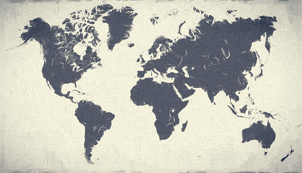 xxxl blue world map on canvas background - continent geographic area stock photos and pictures