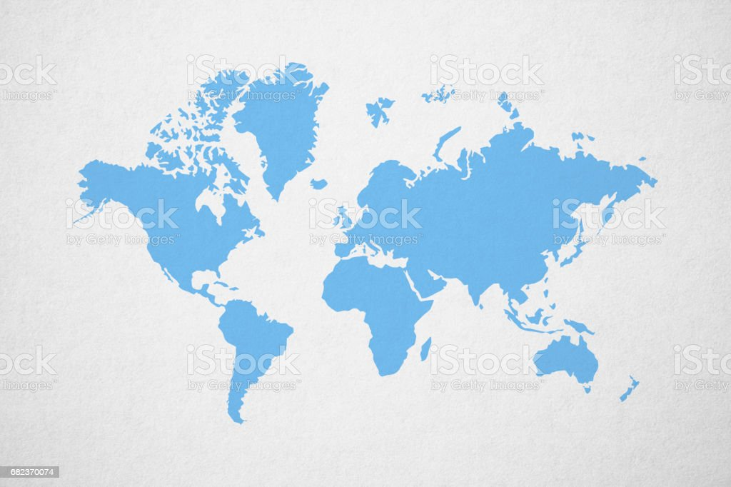 Blue World map on light gray background vector art illustration