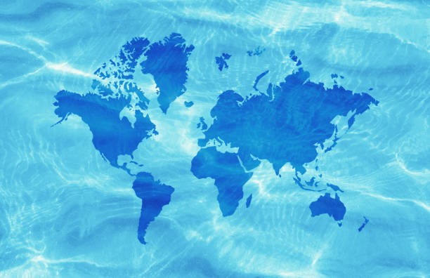 blue world map on water surface - oceano pacifico foto e immagini stock