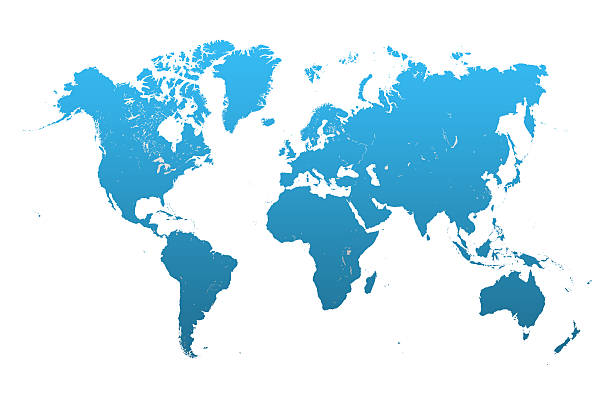 Blue world map on white stock photo