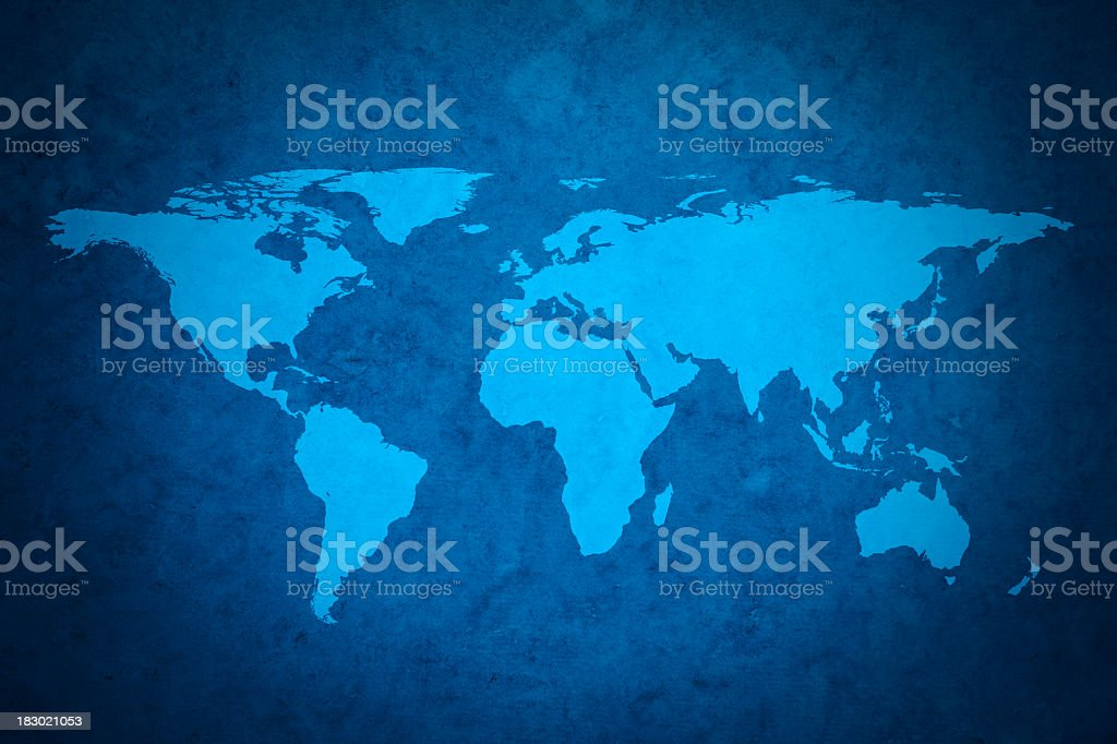 Blue world map royalty-free stock photo