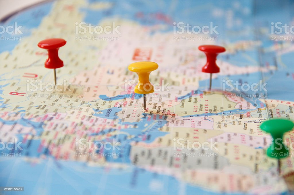 Blue world map with Straight Pin stock photo
