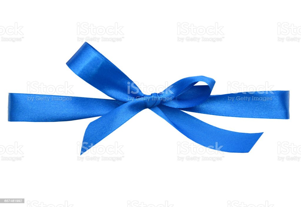 blue wrapping ribbon stock photo