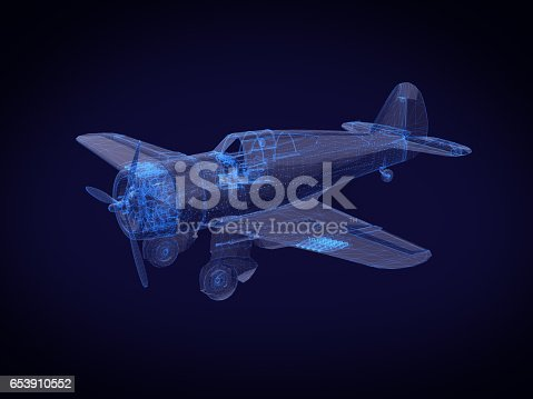 istock blue x-ray Aircraft on a dark background.3D rendering 653910552