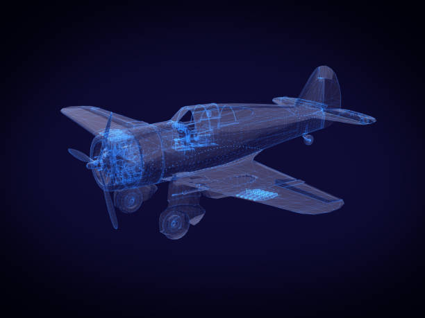 blue x-ray Aircraft on a dark background.3D rendering stock photo