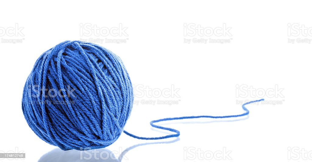 Blue yarn ball stock photo