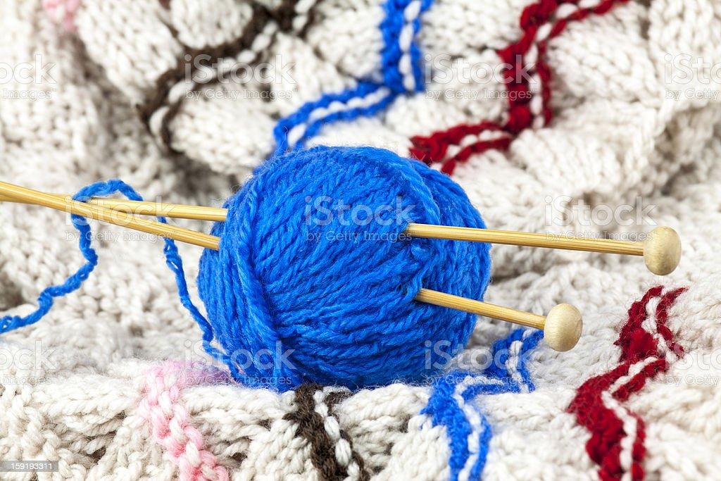 Blue yarn royalty-free stock photo