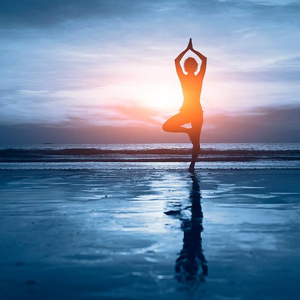blue yoga background stock photo