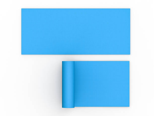 blue yoga mat stock photo