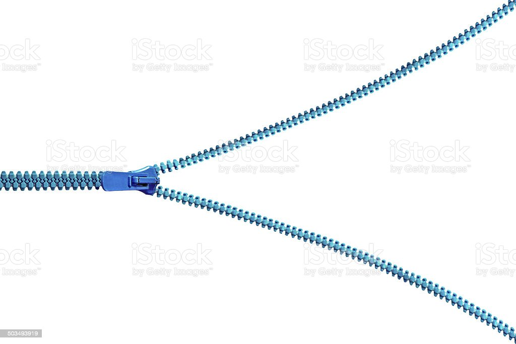 Blue zipper isolated on white background stock photo