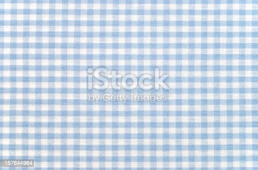 istock Blue-and-white checkered gingham fabric 157644984