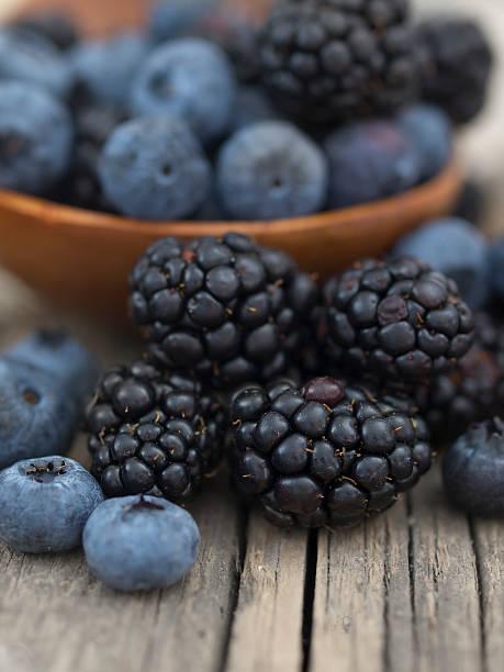blueberries and blackberries stock photo