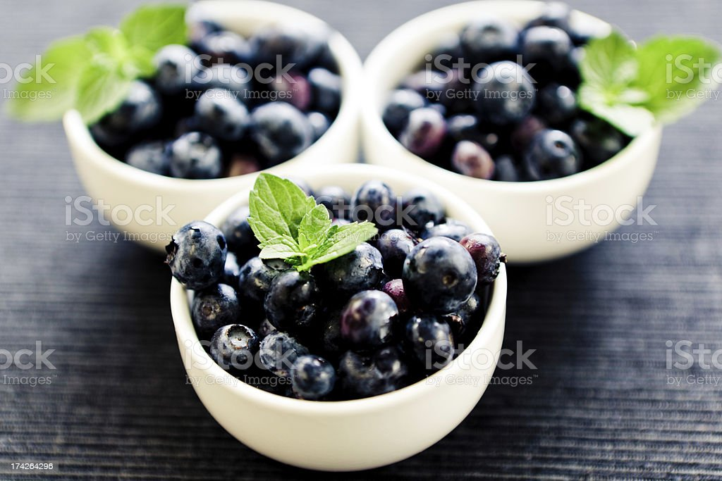 Blueberries and fresh mint royalty-free stock photo