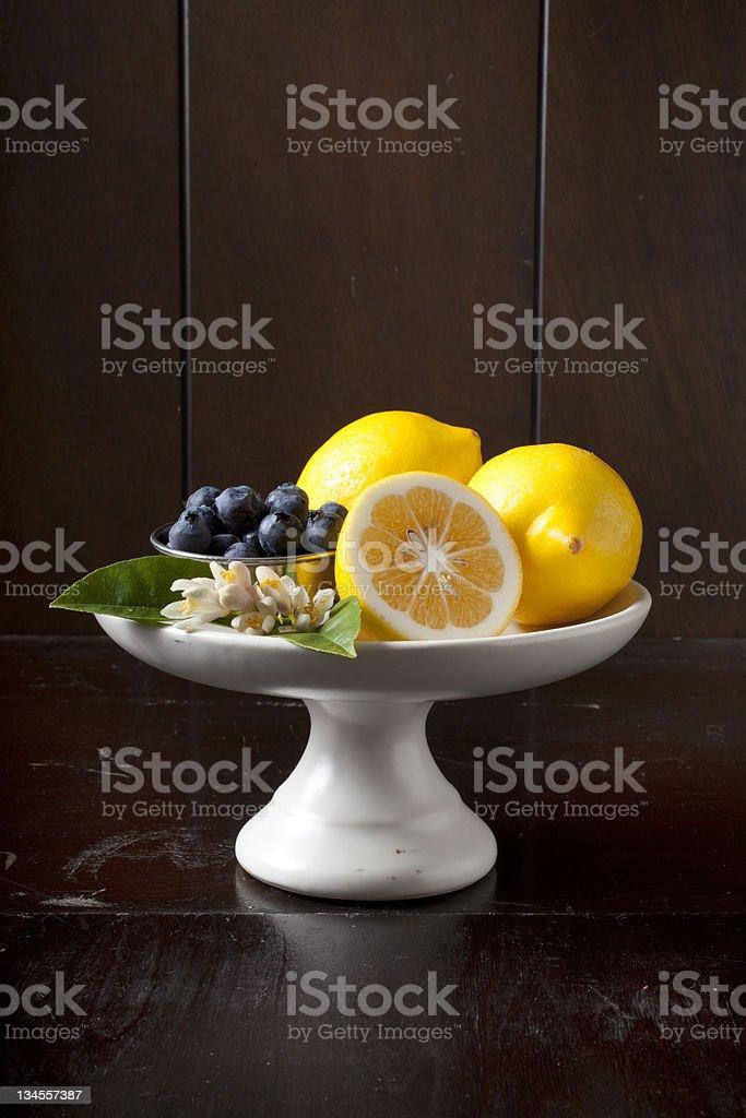 blueberries and meyer lemons stock photo