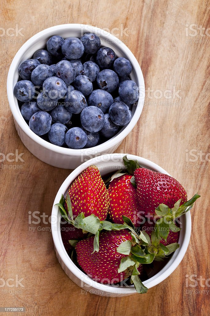 Blueberries and Strawberries stock photo