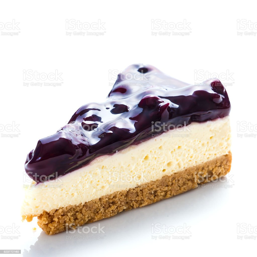 blueberries cheese cake isolated on white background stock photo