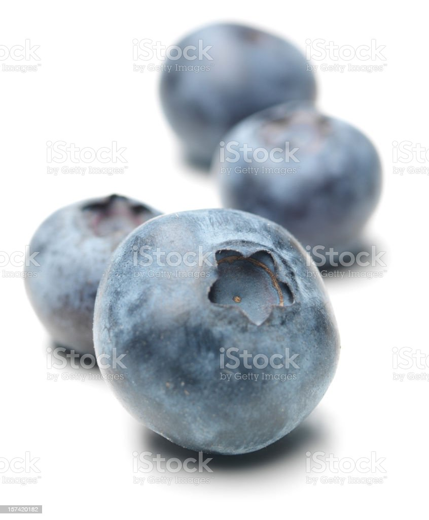 blueberries, close-up, isolated on white stock photo