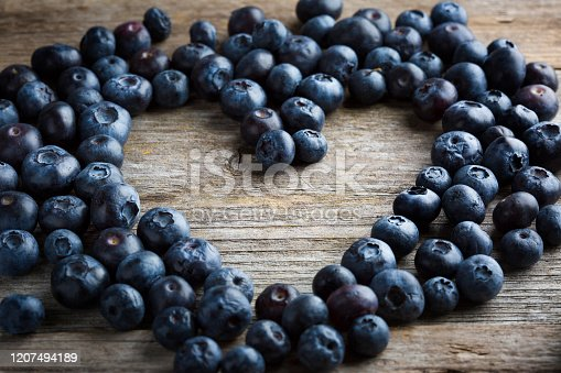 Blueberries from organic farming on wooden background